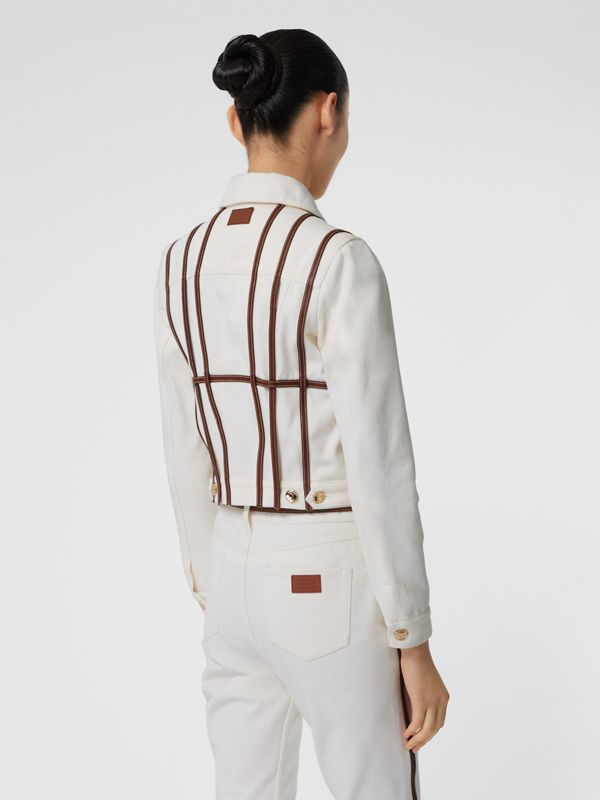 Leather Harness Detail Denim Jacket in Off White - Women | Burberry - cell image 2