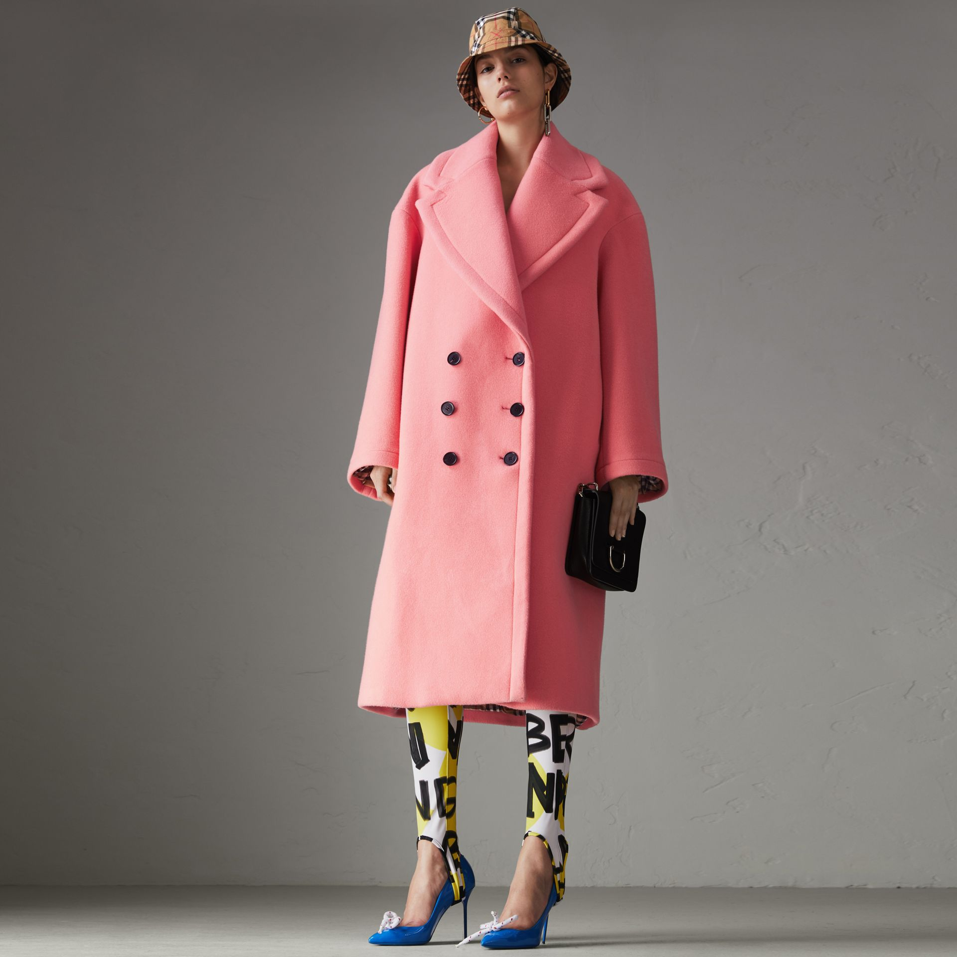 Manteau cocon en laine et cachemire double face (Rose Corail Vif) - Femme | Burberry - photo de la galerie 0