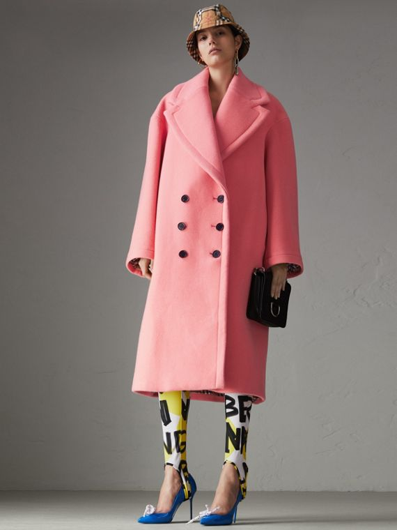 Double-faced Wool Cashmere Cocoon Coat in Bright Coral Pink