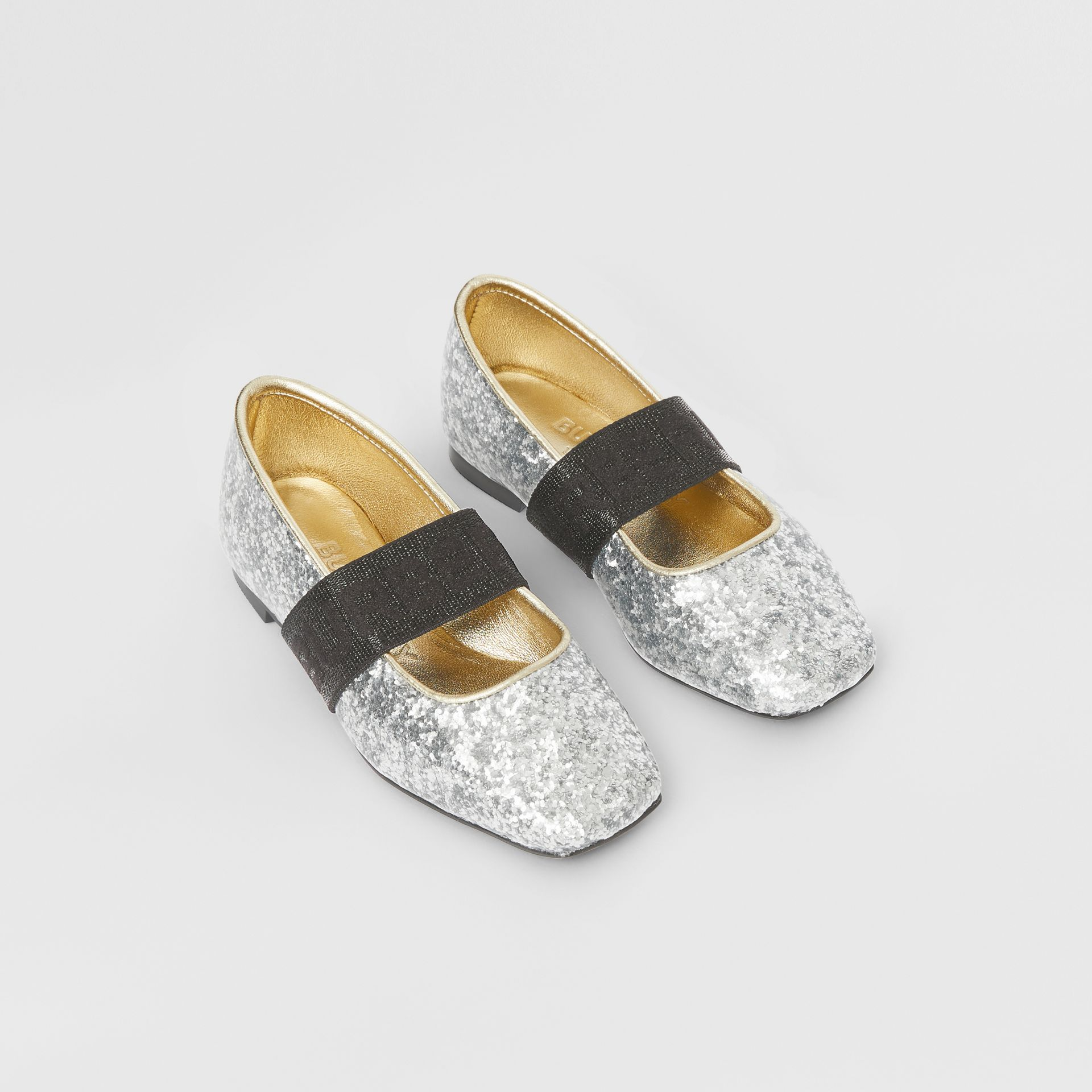 Logo Detail Glittery Flats in Silver - Children | Burberry United Kingdom - gallery image 0