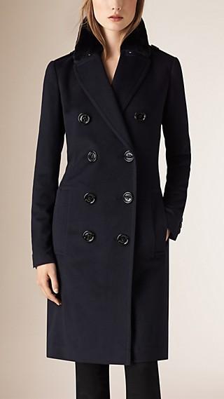 Fur Trim Cashmere Military Coat