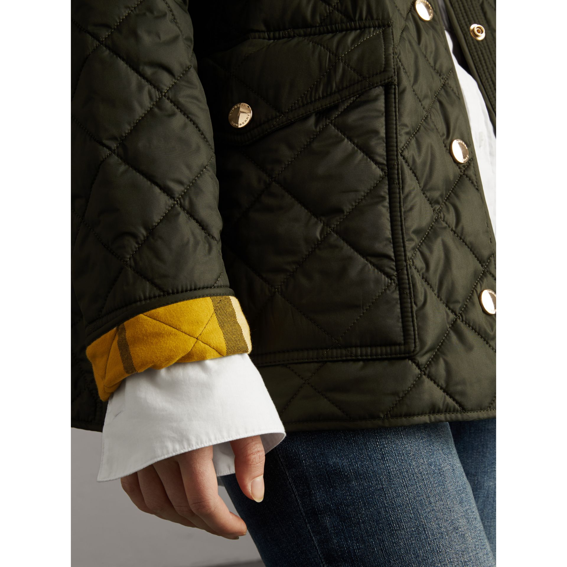 Check Detail Diamond Quilted Jacket in Military Green - Women | Burberry - gallery image 2