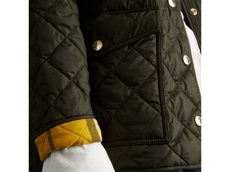 Check Detail Diamond Quilted Jacket in Military Green - Women | Burberry - cell image 1