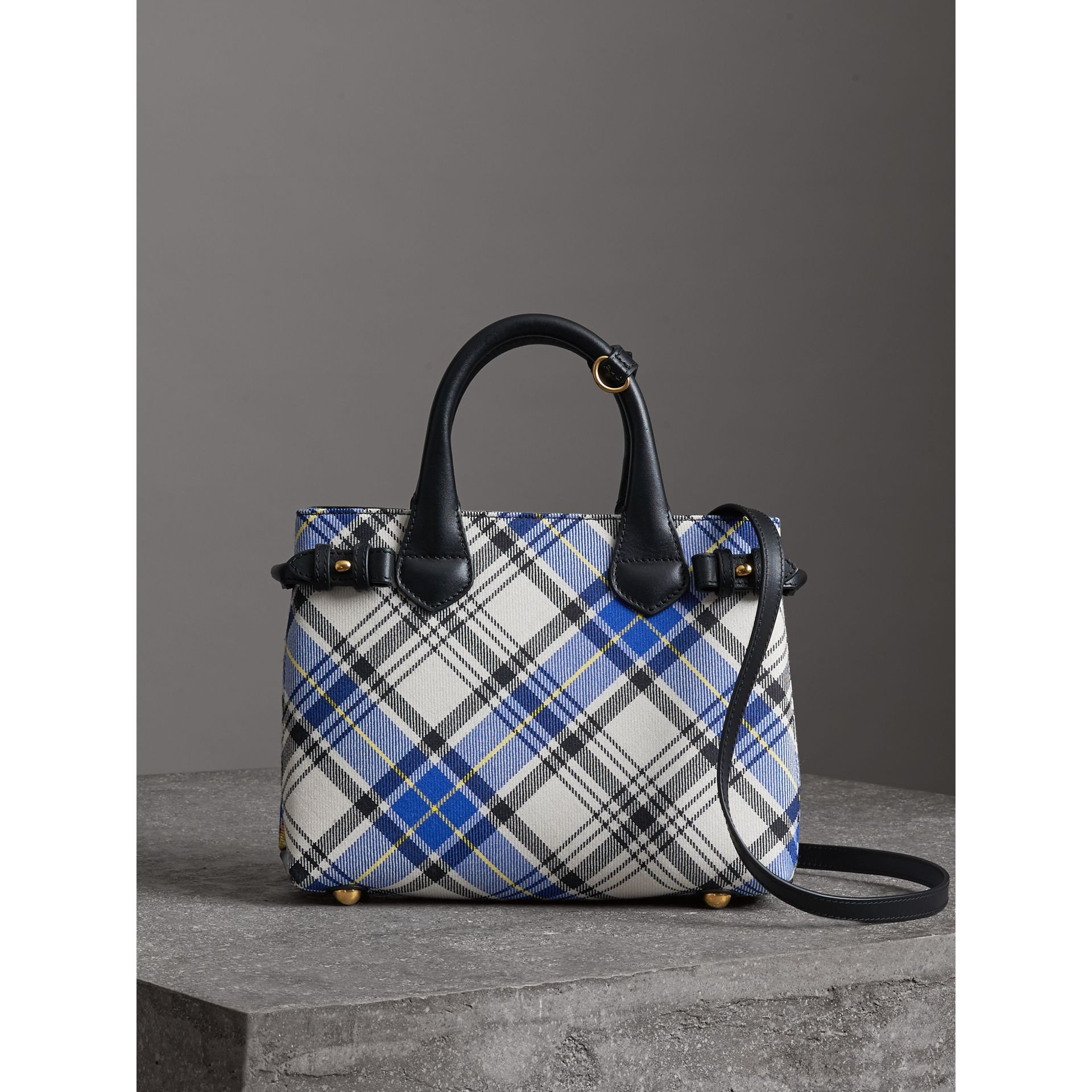 The Small Banner in Tartan and Leather in Chalk White - Women | Burberry - gallery image 6
