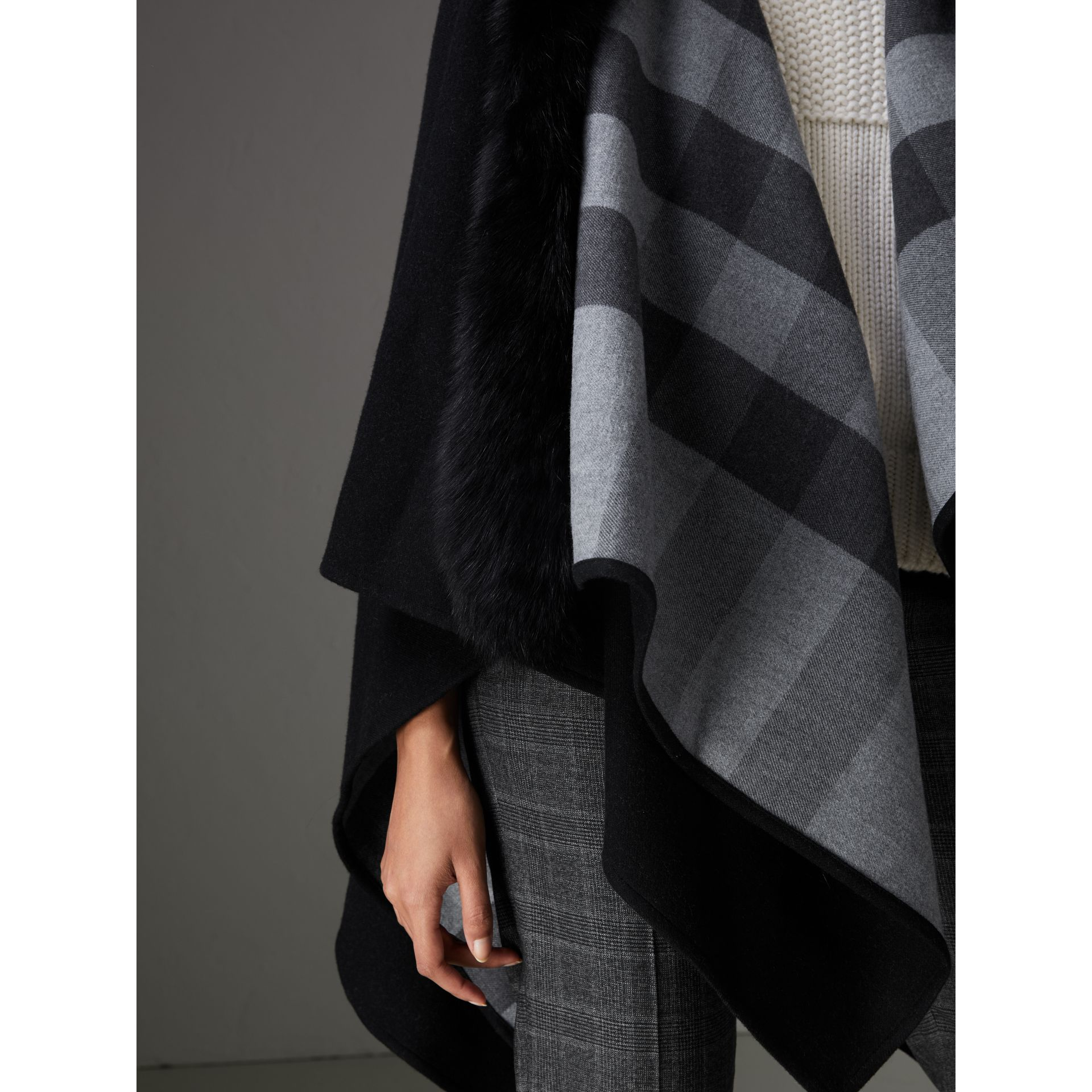 Fur-trimmed Merino Wool Poncho in Charcoal - Women | Burberry - gallery image 1