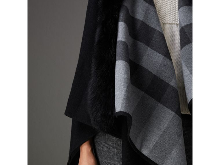 Fur-trimmed Merino Wool Poncho in Charcoal - Women | Burberry United Kingdom - cell image 1