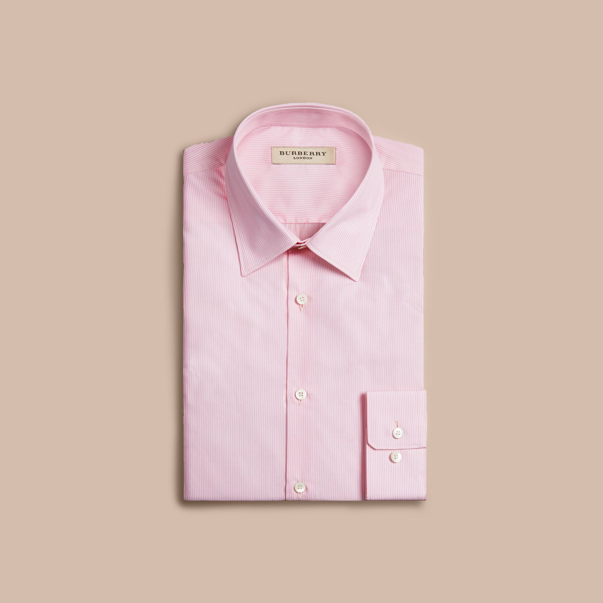Slim Fit Striped Cotton Poplin Shirt in City Pink - gallery image 4