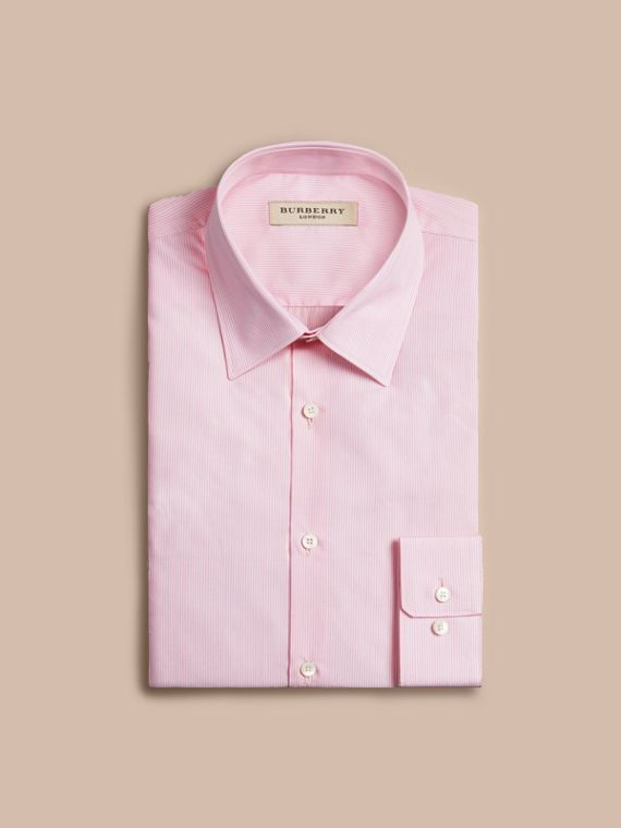 Slim Fit Striped Cotton Poplin Shirt in City Pink - cell image 3