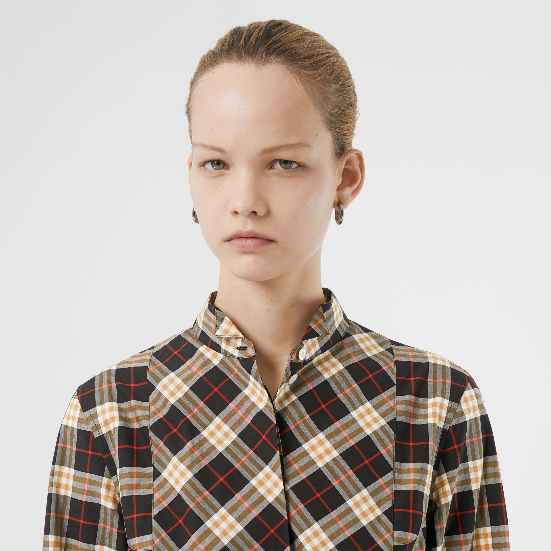 Check Cotton Tie-waist Shirt Dress in Midnight - Women | Burberry United States - gallery image 1