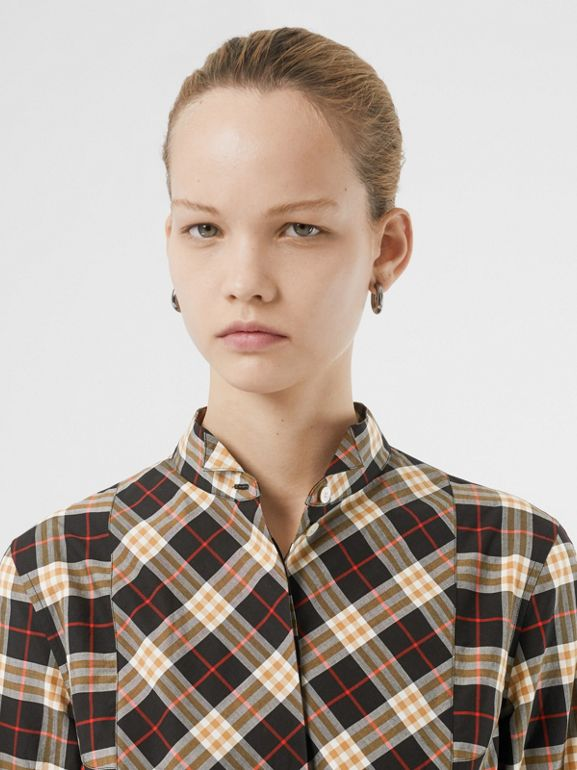Check Cotton Tie-waist Shirt Dress in Midnight - Women | Burberry Hong Kong - cell image 1