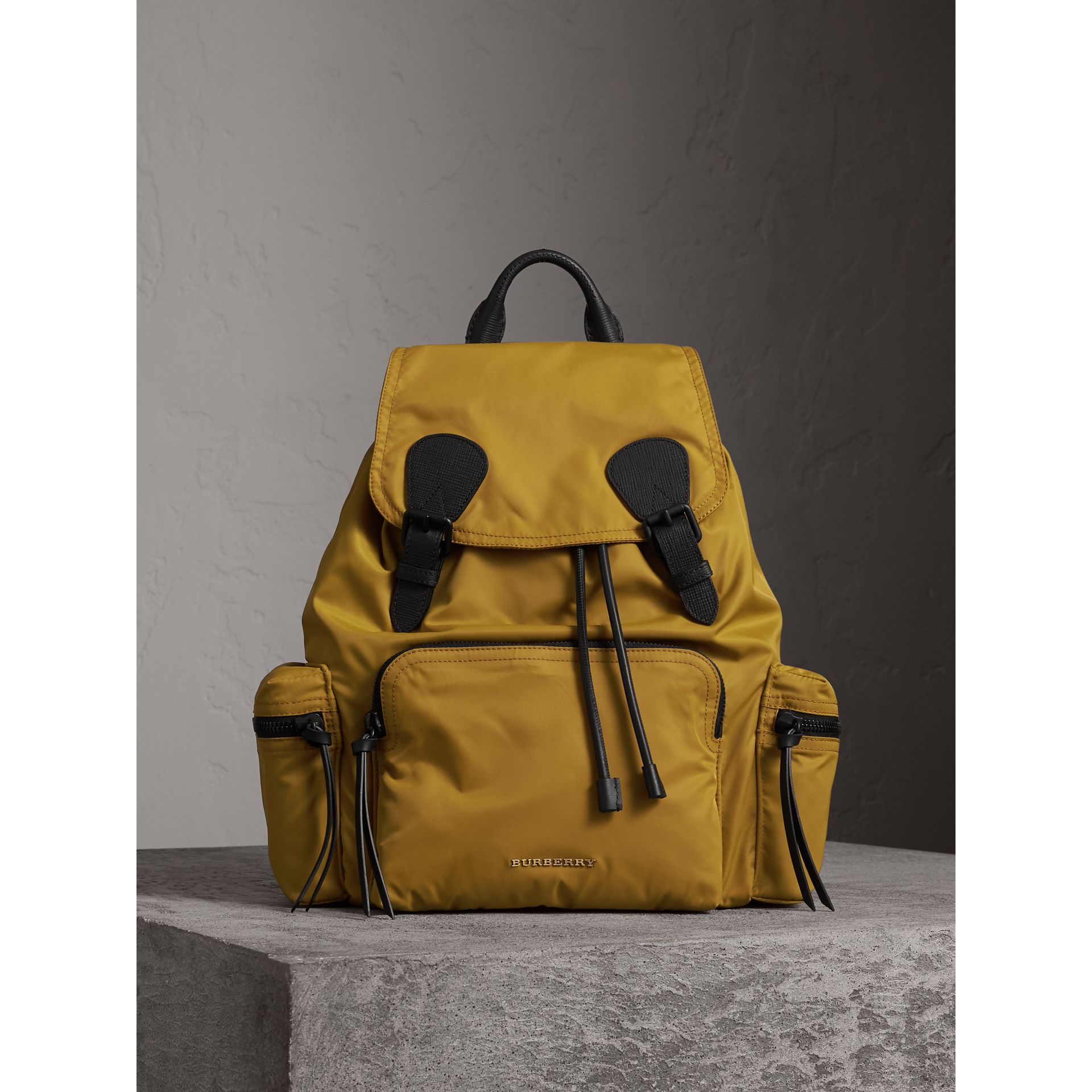 The Large Rucksack in Technical Nylon and Leather in Ochre Yellow - Men | Burberry - gallery image 1