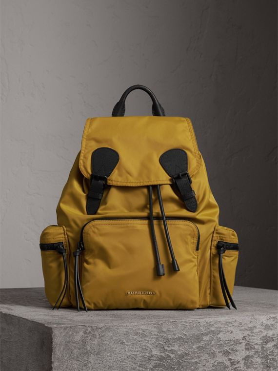 The Large Rucksack in Technical Nylon and Leather in Ochre Yellow - Men | Burberry Australia