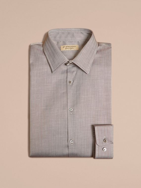 Black Slim Fit Herringbone Cotton Shirt Black - cell image 3
