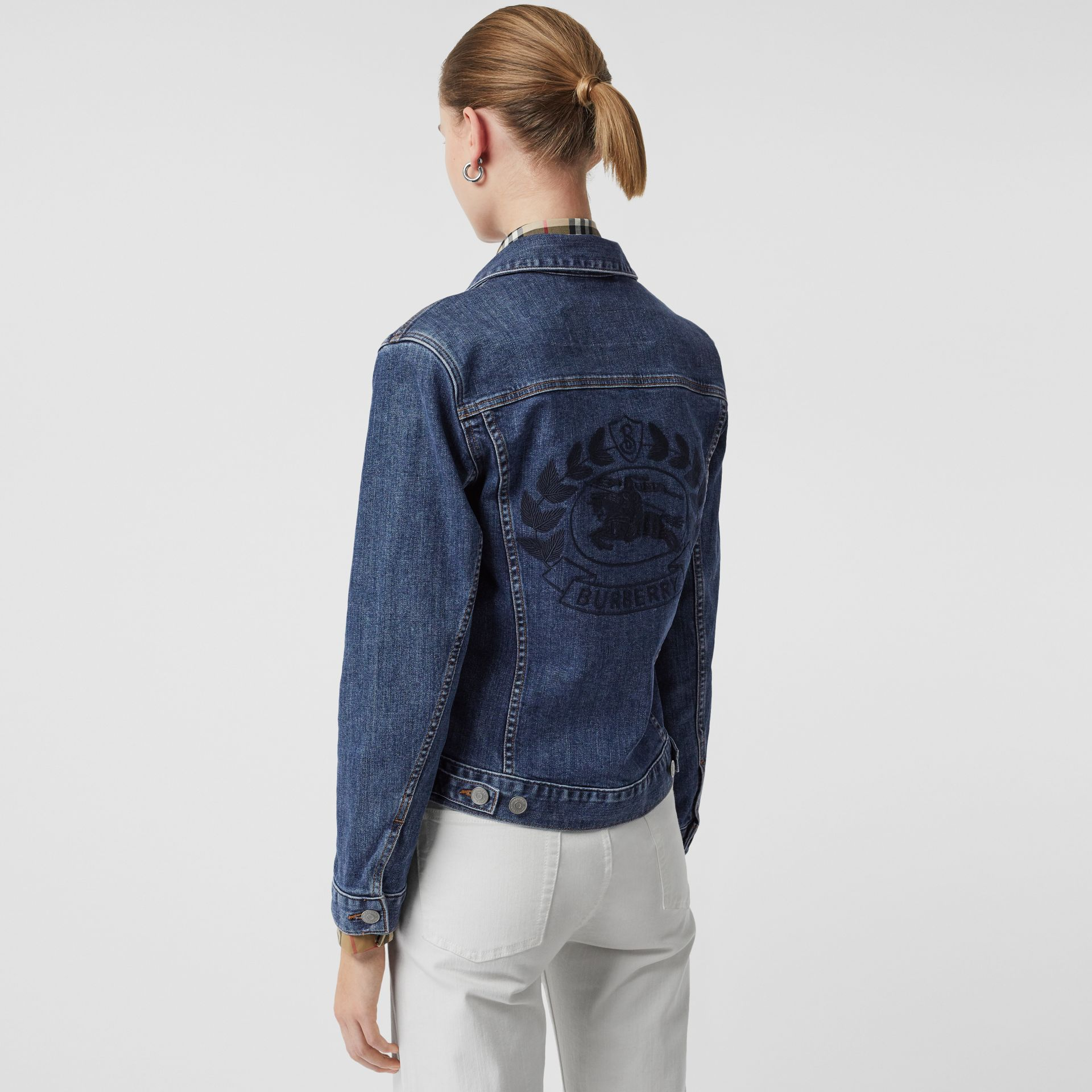 Embroidered Crest Denim Jacket in Blue - Women | Burberry - gallery image 5