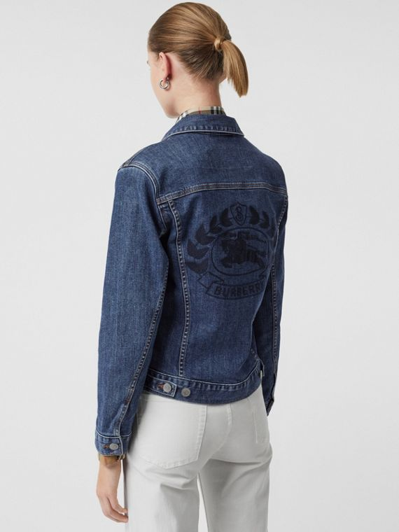 Embroidered Crest Denim Jacket in Blue