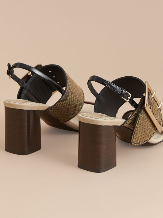 Python and Leather Sandals with Buckle Detail - Women | Burberry - cell image 3