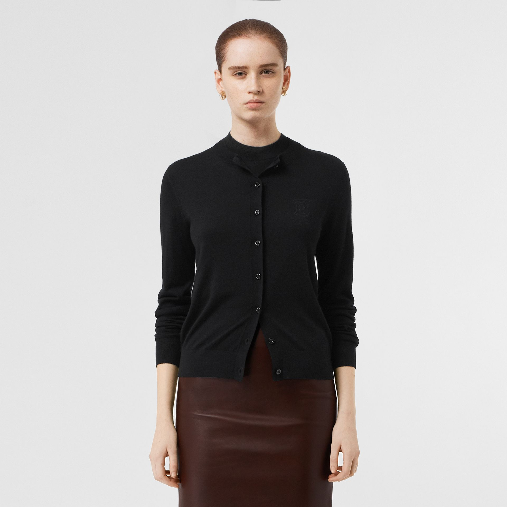 Monogram Motif Cashmere Cardigan in Black - Women | Burberry - gallery image 6