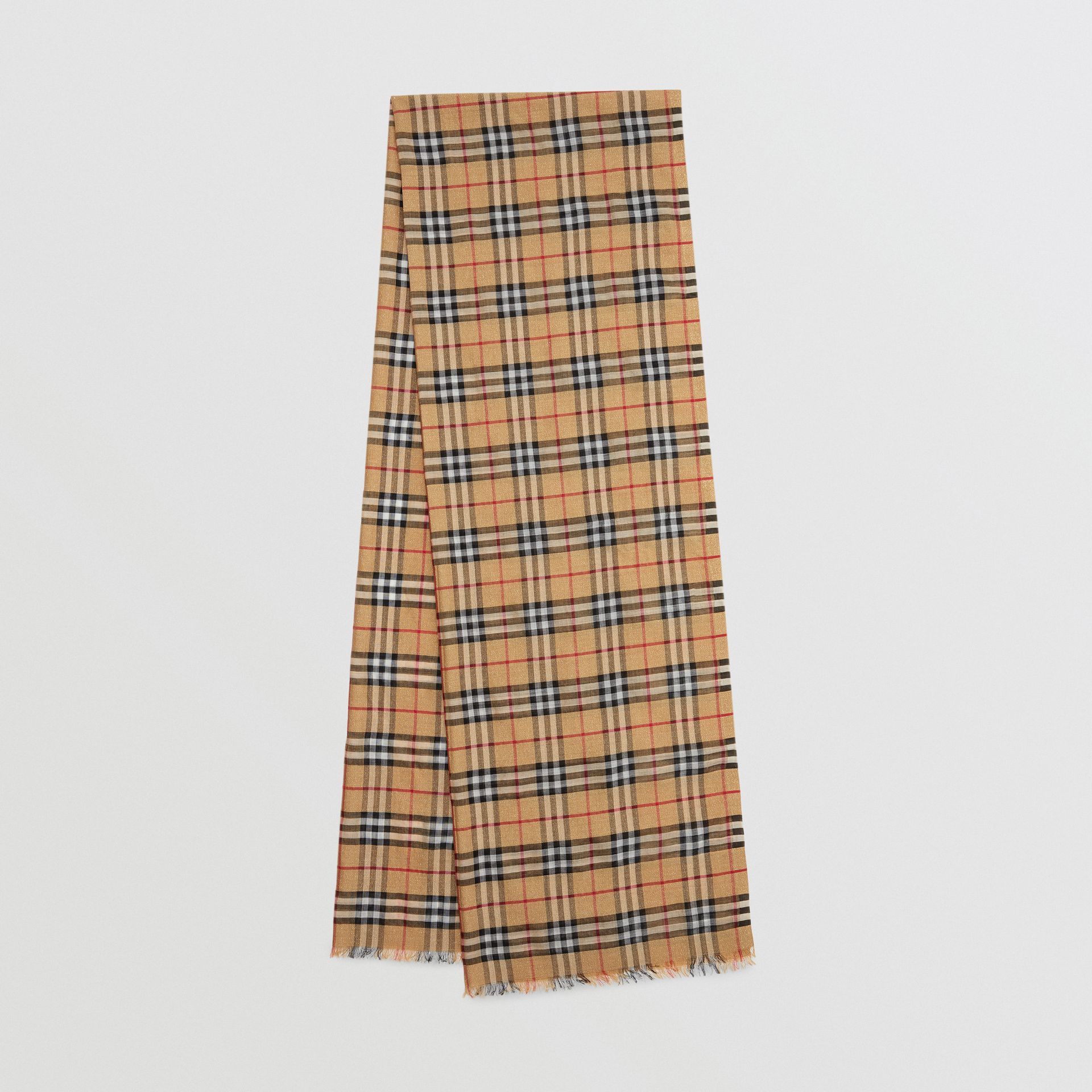 Metallic Vintage Check Wool Silk Blend Scarf in Antique Yellow - Women | Burberry United Kingdom - gallery image 0