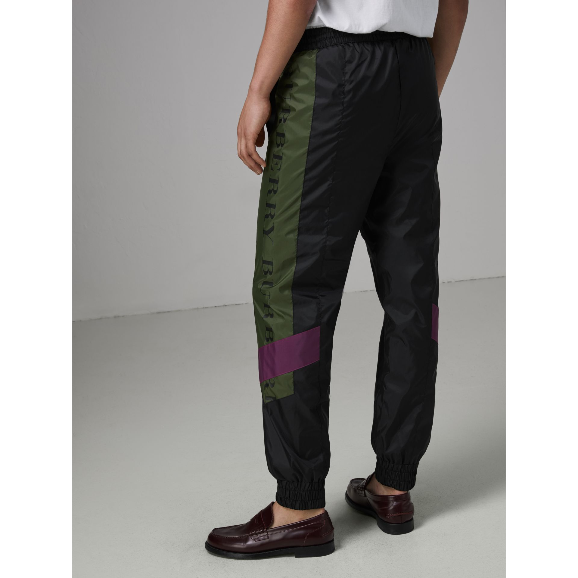 Logo Panel Shell Suit Pants in Black - Men | Burberry Canada - gallery image 2