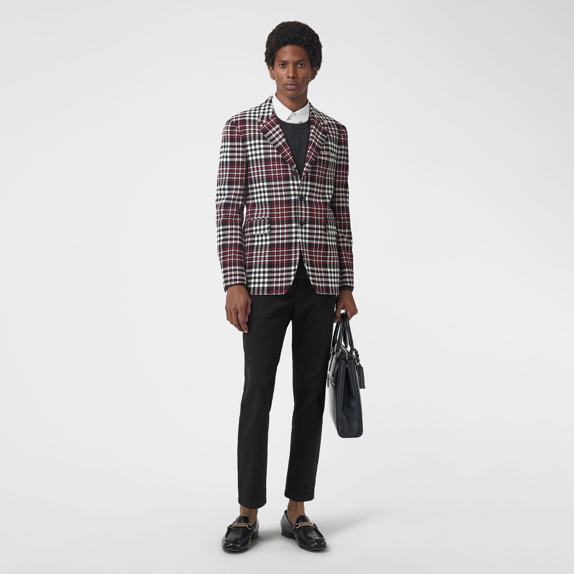 Slim Fit Tartan Technical Wool Tailored Jacket in Red - Men | Burberry Canada - gallery image 0