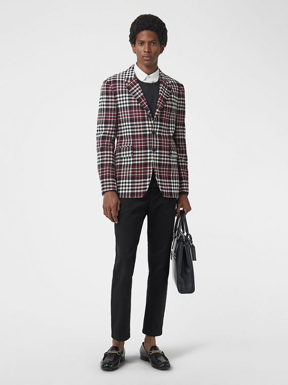 Slim Fit Tartan Technical Wool Tailored Jacket in Red