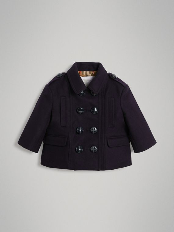 Wool Pea Coat in Navy