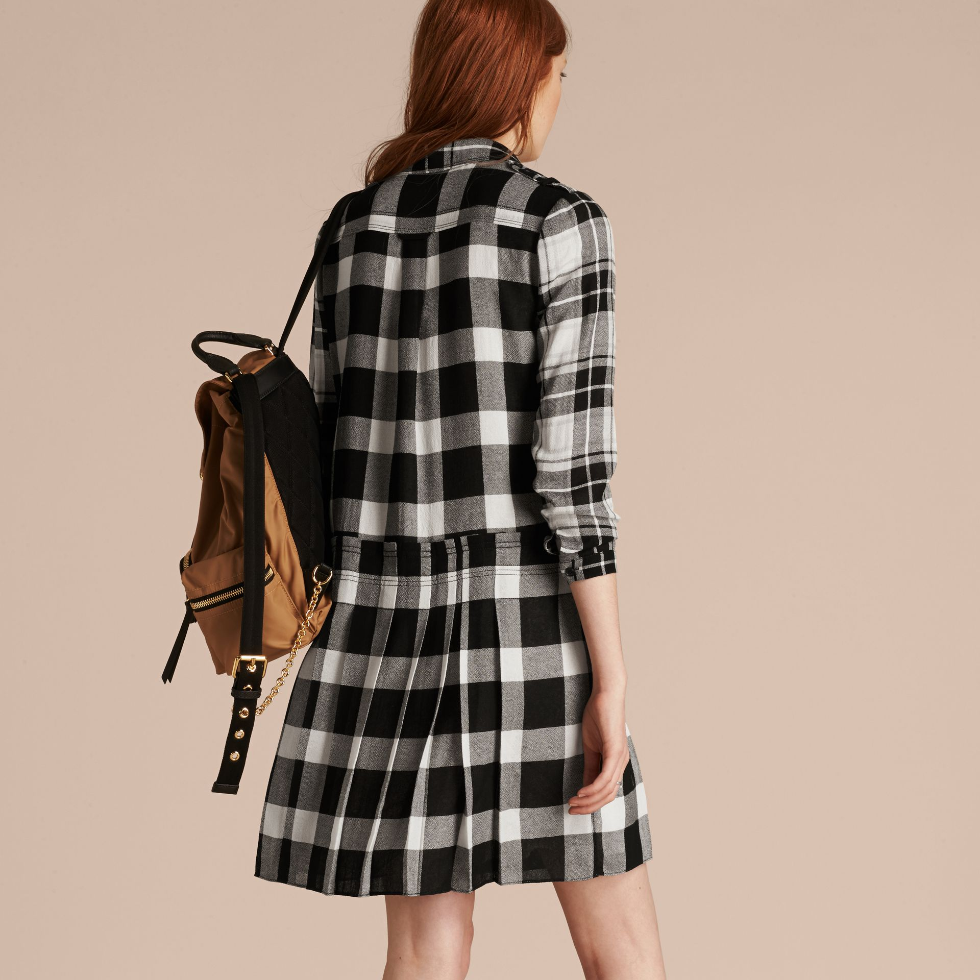 Natural white Check Kilt Dress - gallery image 3