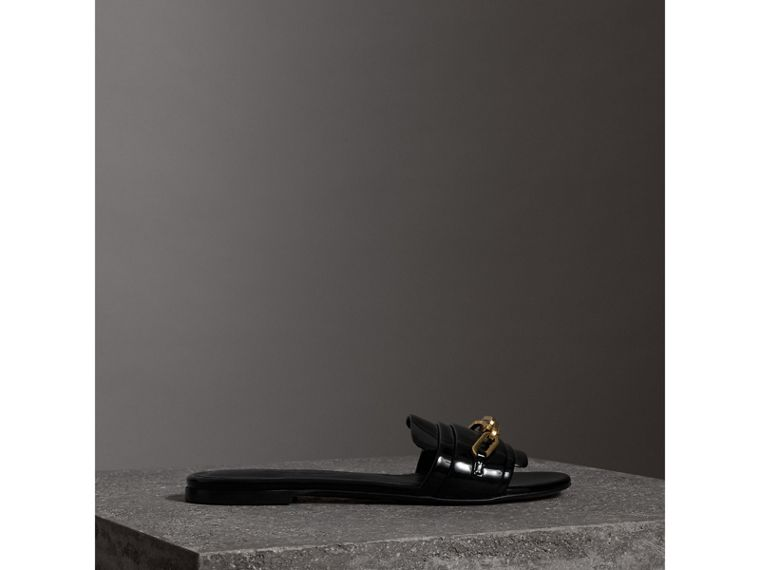 Link Detail Patent Leather Slides in Black - Women | Burberry Canada - cell image 4