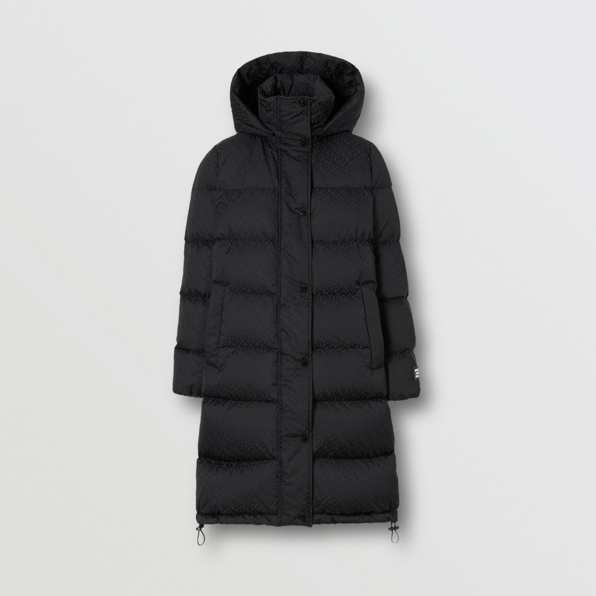 Detachable Hood Monogram ECONYL® Puffer Coat in Black - Women | Burberry - gallery image 3