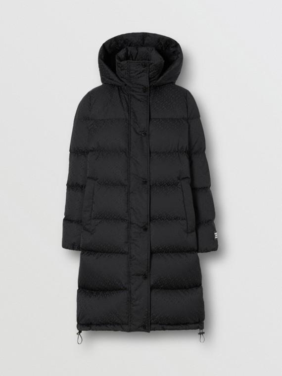 Detachable Hood Monogram ECONYL® Puffer Coat in Black