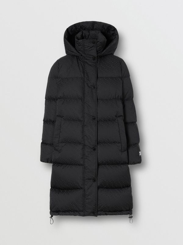 Detachable Hood Monogram ECONYL® Puffer Coat in Black - Women | Burberry - cell image 3