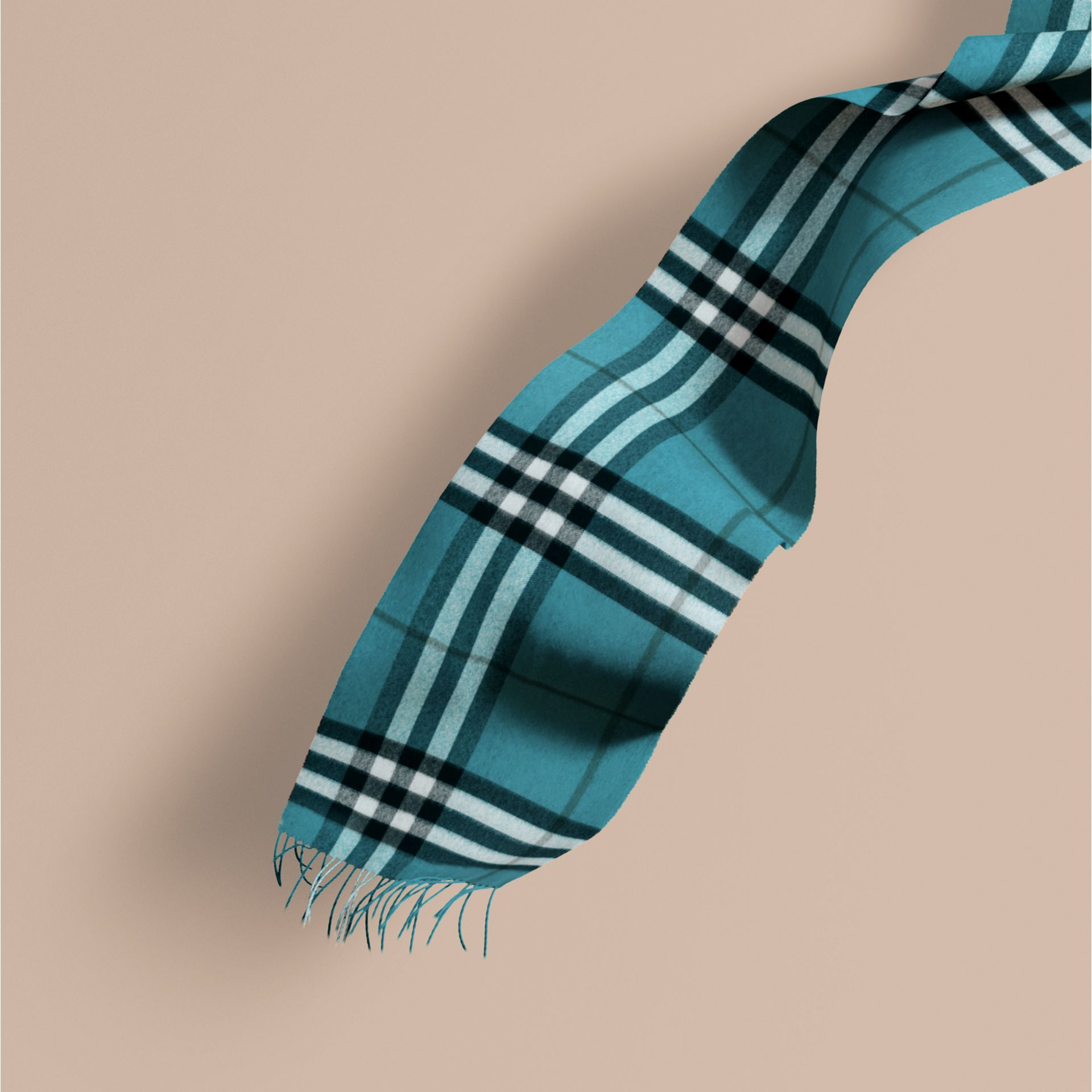 Dark aqua The Classic Cashmere Scarf in Check Dark Aqua - gallery image 1