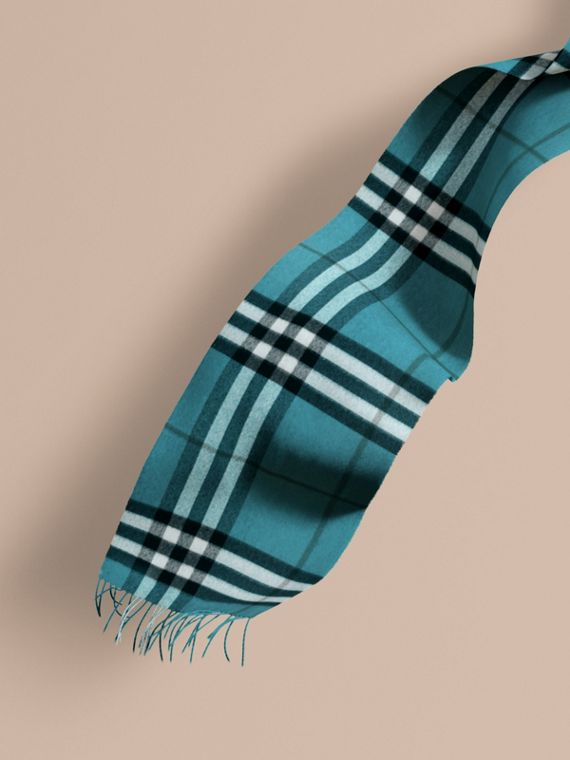 The Classic Cashmere Scarf in Check Dark Aqua
