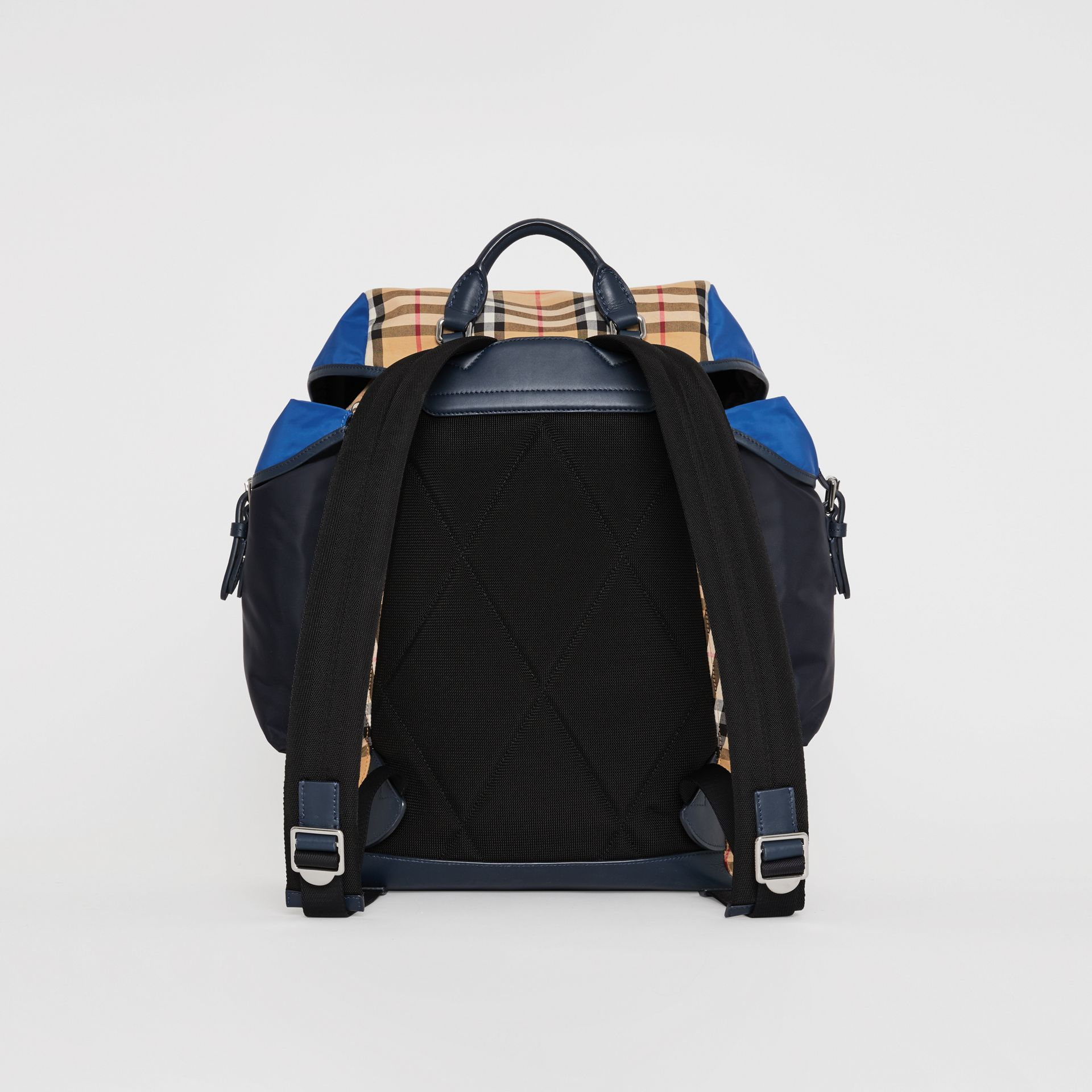 Colour Block Vintage Check and Leather Backpack in Navy - Men | Burberry Singapore - gallery image 3