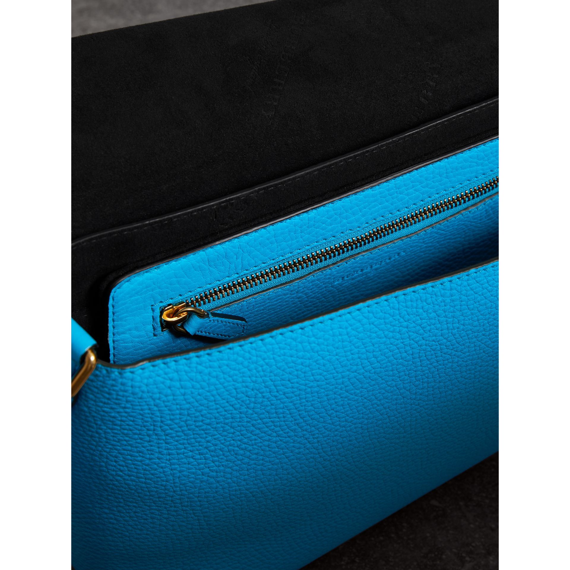 Medium Embossed Leather Messenger Bag in Neon Blue | Burberry - gallery image 3