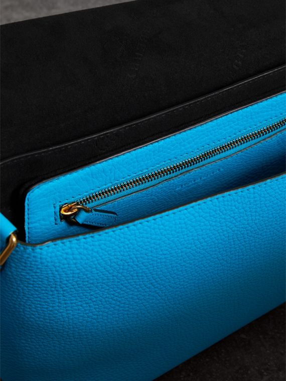 Medium Embossed Leather Messenger Bag in Neon Blue | Burberry - cell image 3
