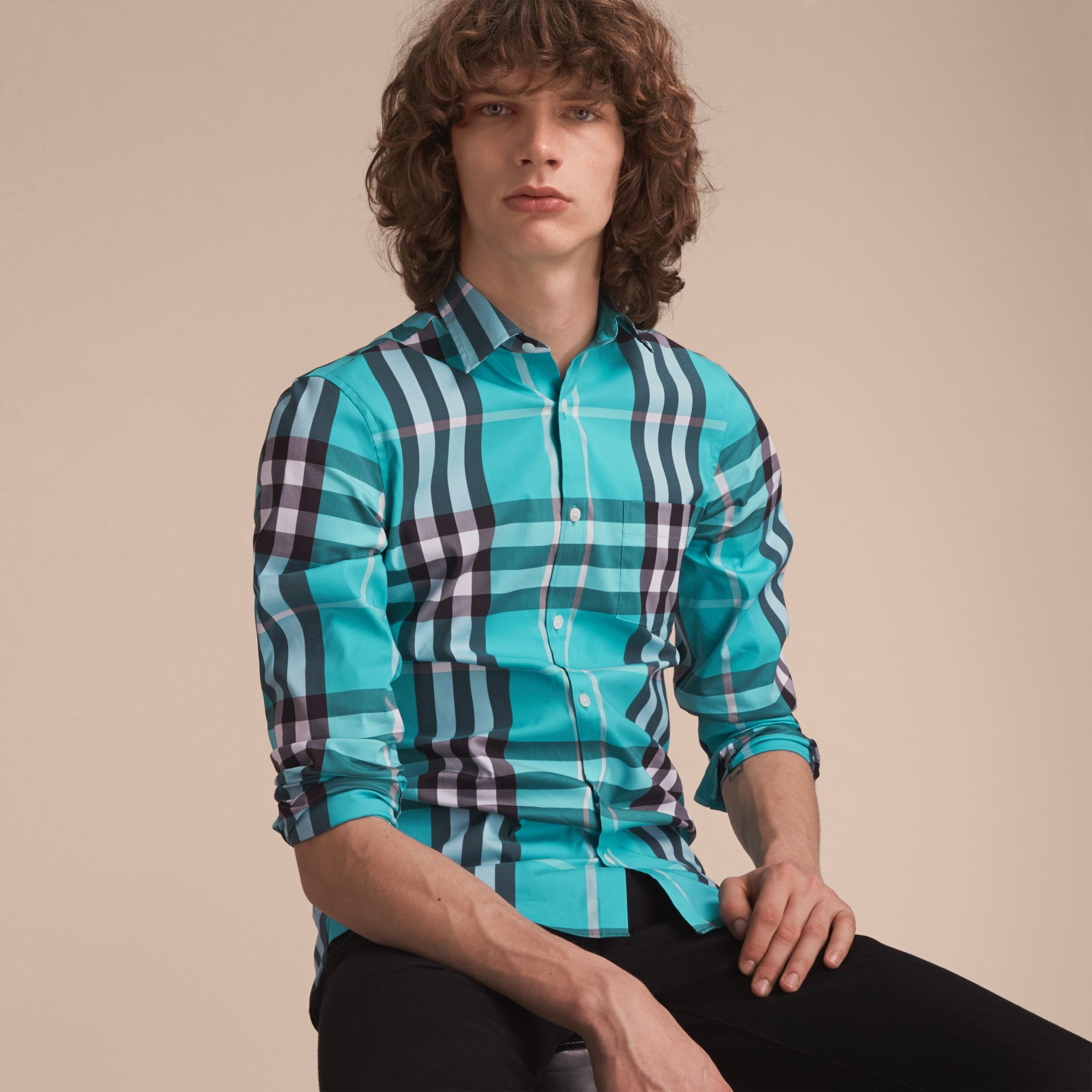 Check Stretch Cotton Shirt in Cyan Green - Men | Burberry - gallery image 6