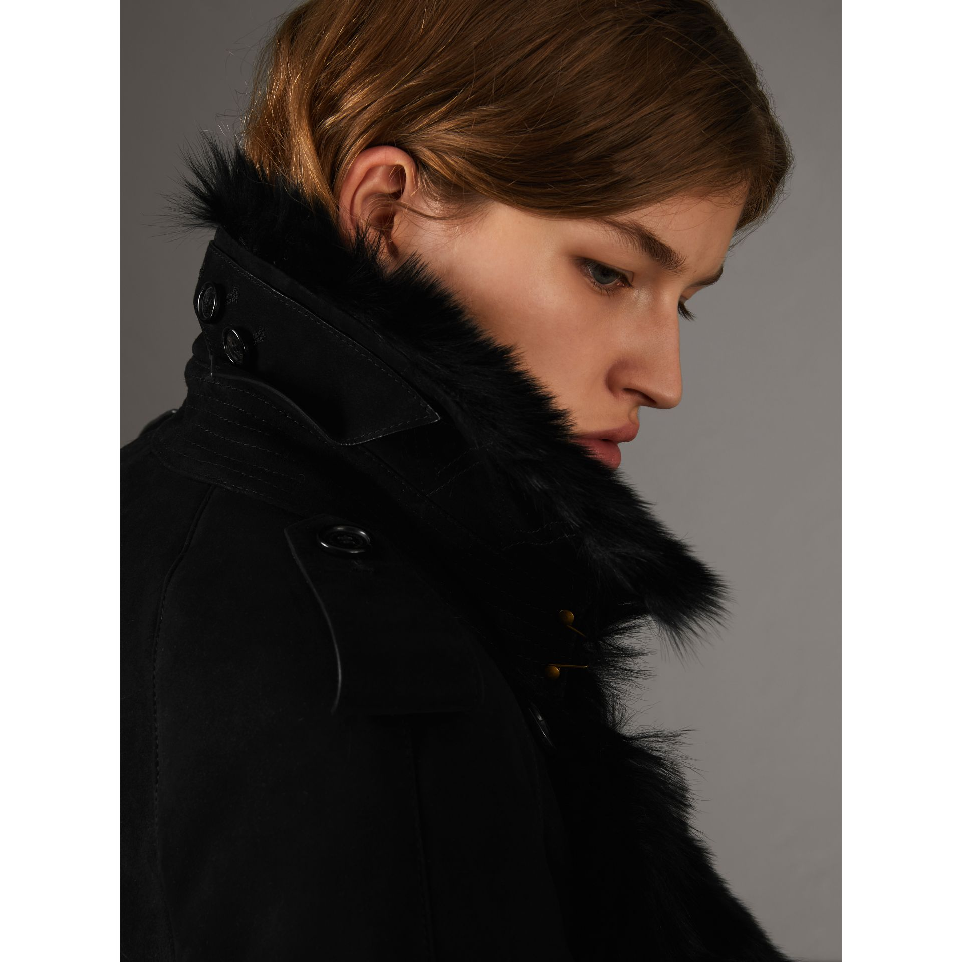 Shearling Long Trench Coat in Black - Women | Burberry - gallery image 4