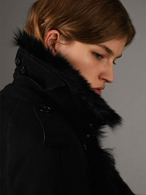 Shearling Long Trench Coat in Black - Women | Burberry - cell image 3