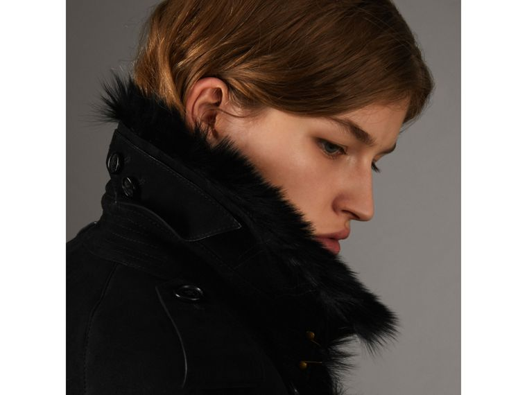 Shearling Extra-long Trench Coat in Black - Women | Burberry - cell image 4