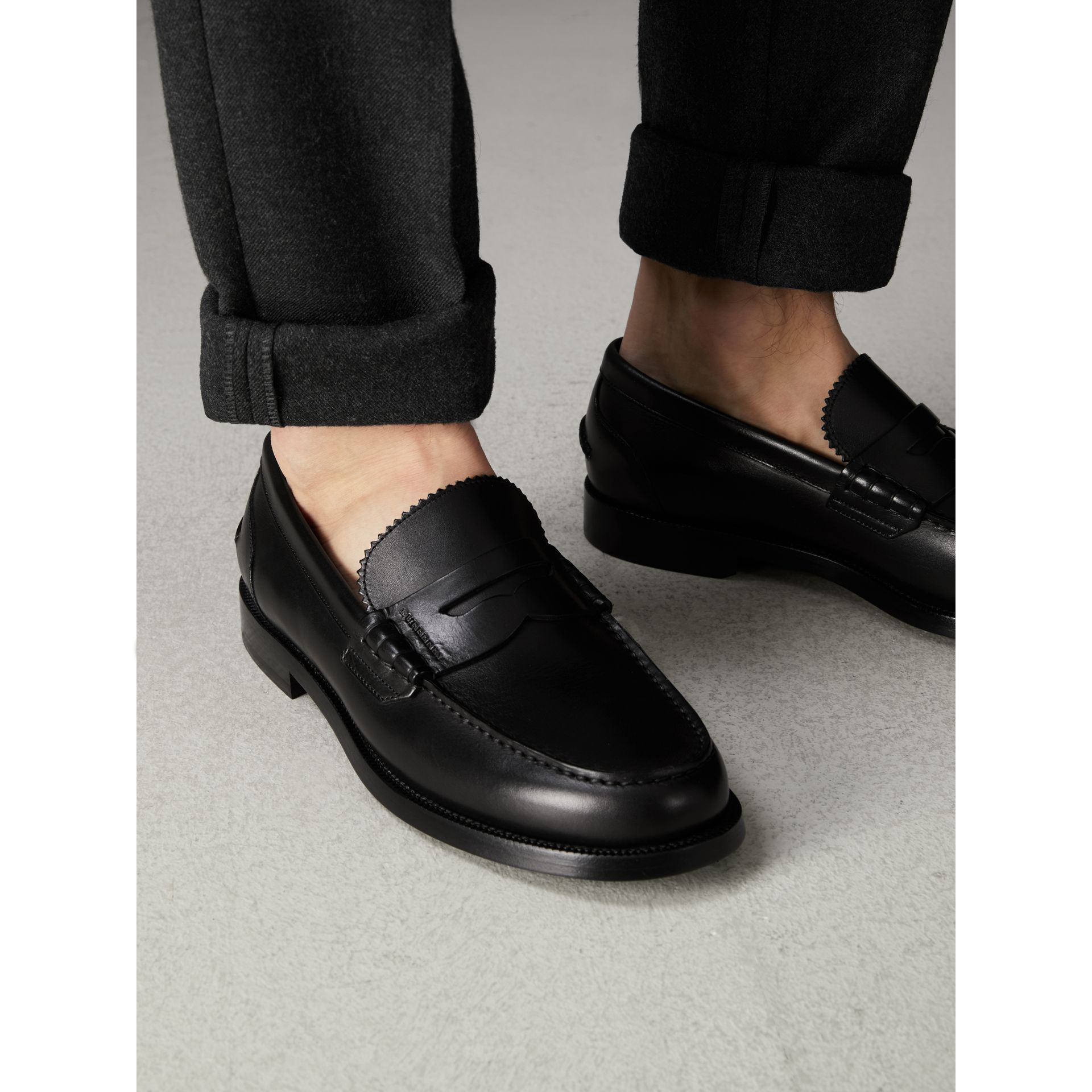Leather Penny Loafers in Black - Men | Burberry United States - gallery image 2