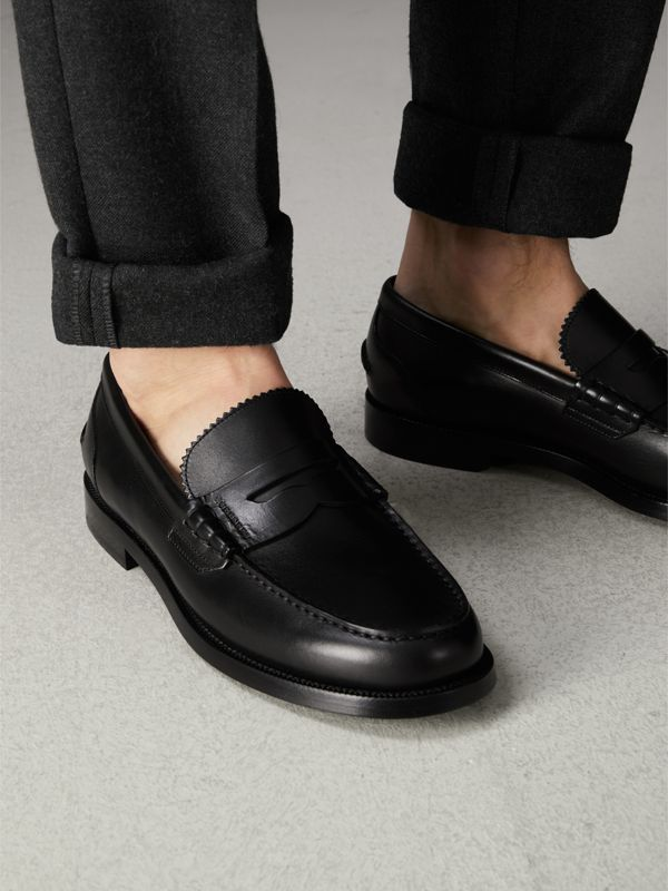 Leather Penny Loafers in Black - Men | Burberry Australia - cell image 2