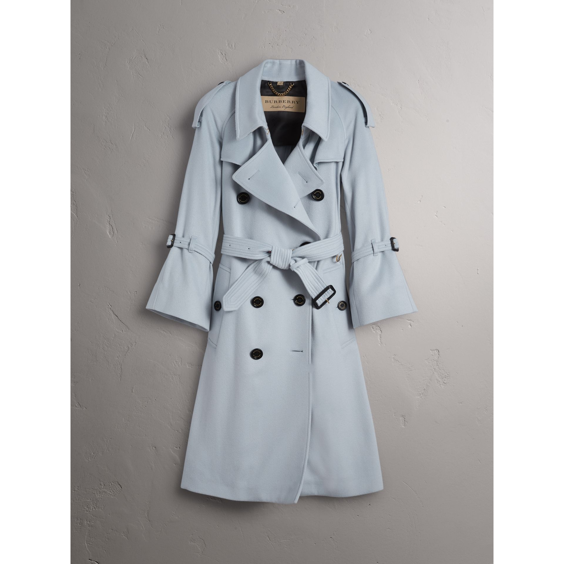 Ruffled Storm Shield Cashmere Trench Coat in Mineral Blue - Women | Burberry Australia - gallery image 4