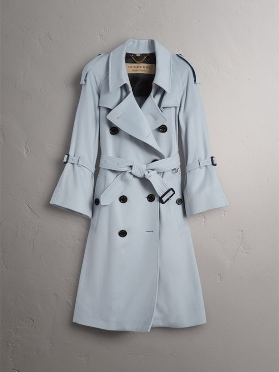 Ruffled Storm Shield Cashmere Trench Coat in Mineral Blue - Women | Burberry - cell image 3