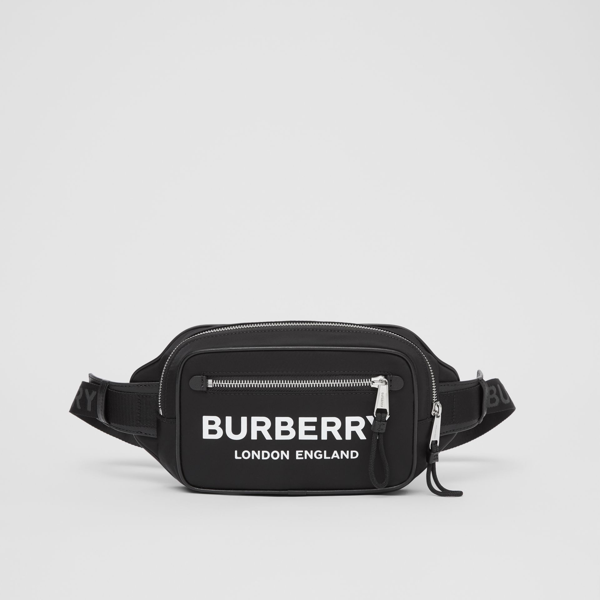 Logo Print ECONYL® Bum Bag in Black - Men | Burberry Australia - gallery image 0
