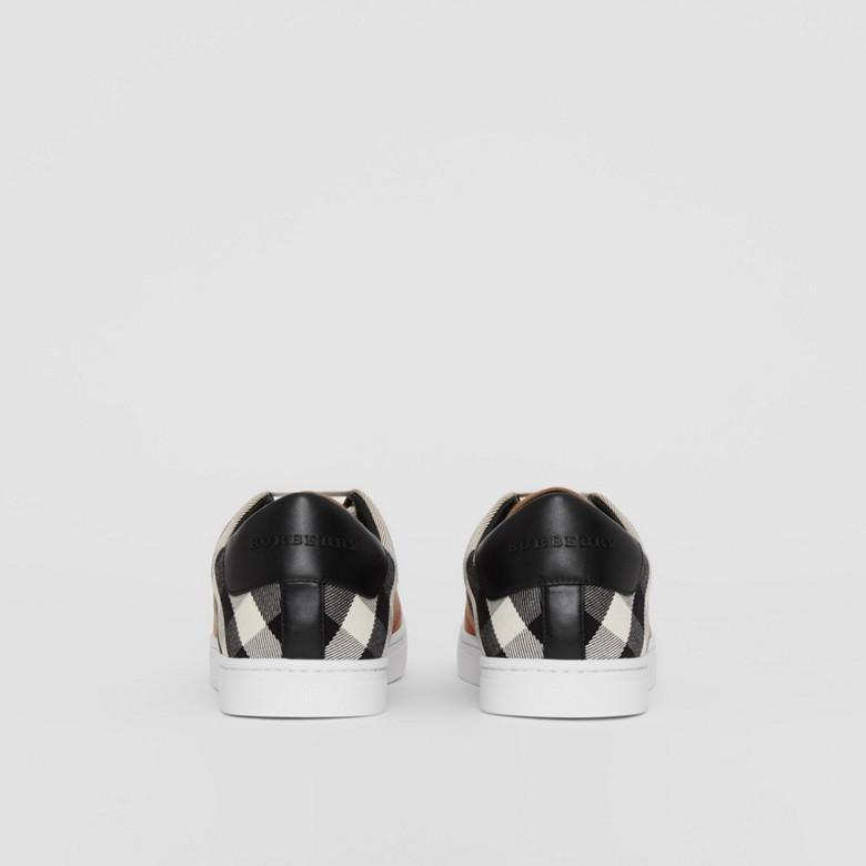 Burberry - Sneakers en coton House check et cuir - 4