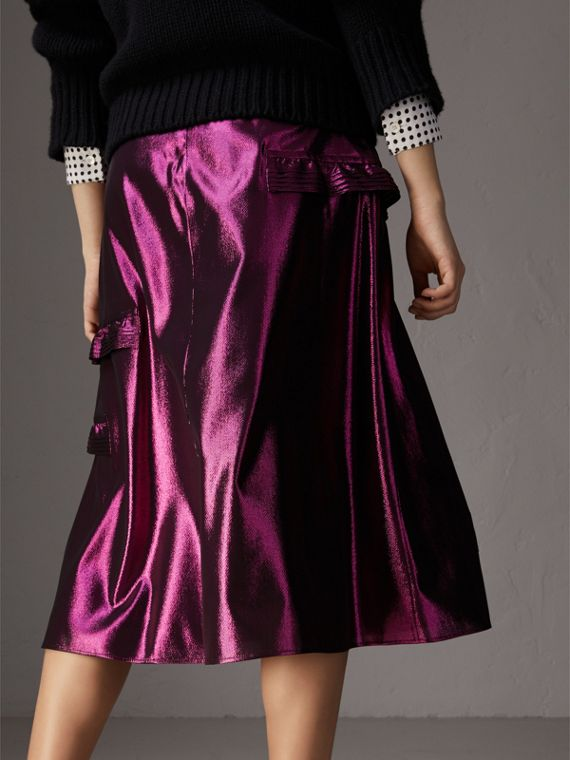 Ruffle Detail Lamé Skirt in Bright Fuchsia - Women | Burberry - cell image 2