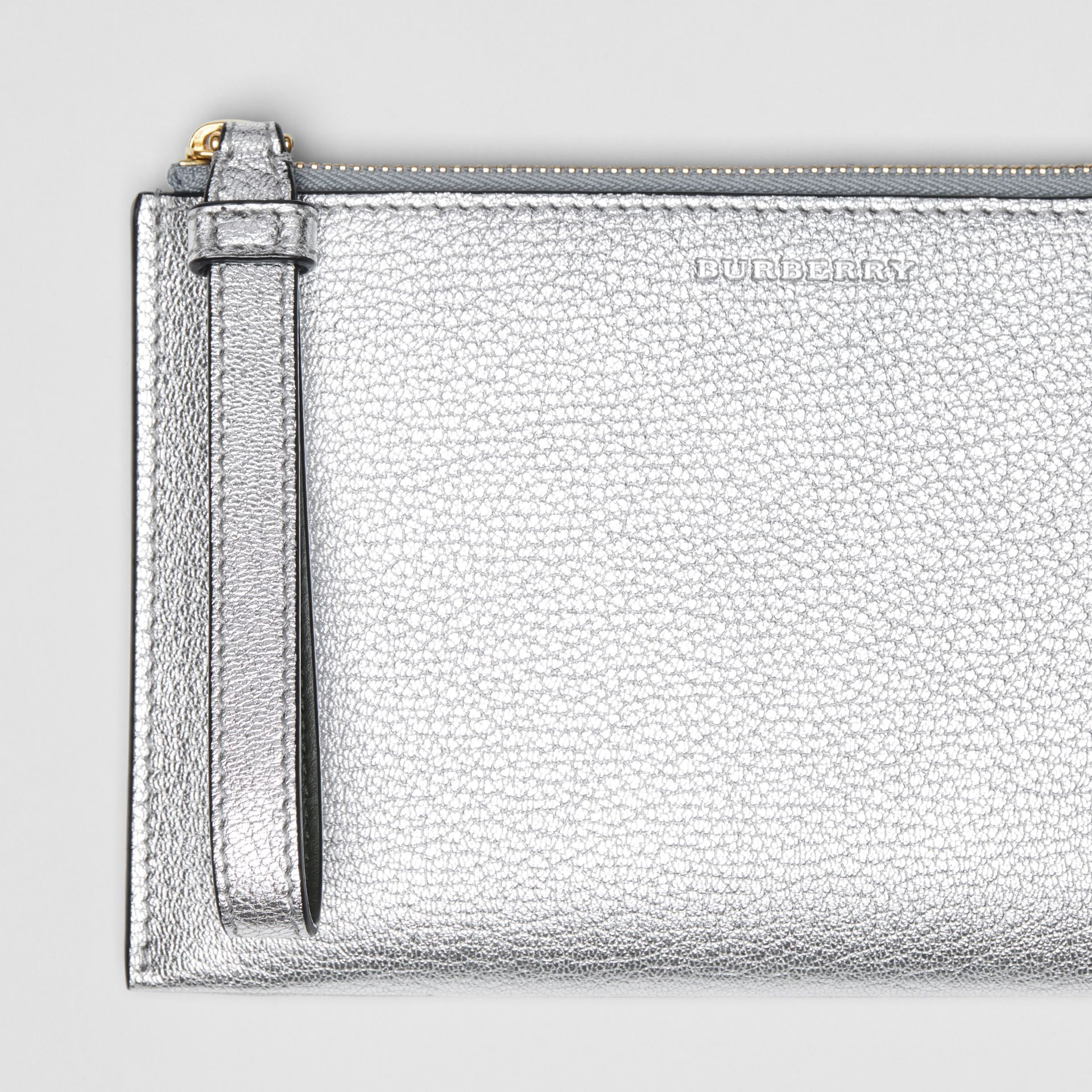 Two-tone Metallic Leather Travel Wallet in Silver - Women | Burberry Australia - gallery image 1