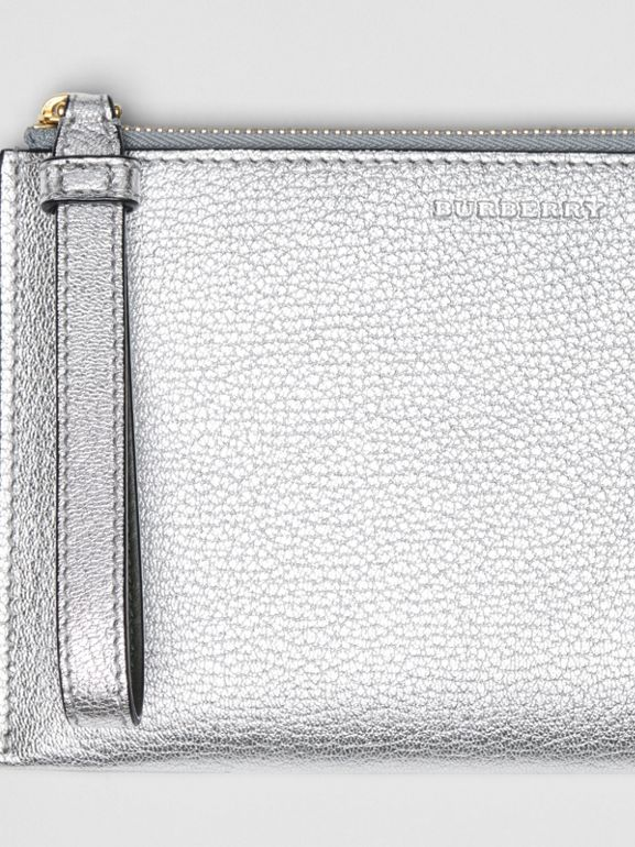 Two-tone Metallic Leather Travel Wallet in Silver - Women | Burberry Australia - cell image 1