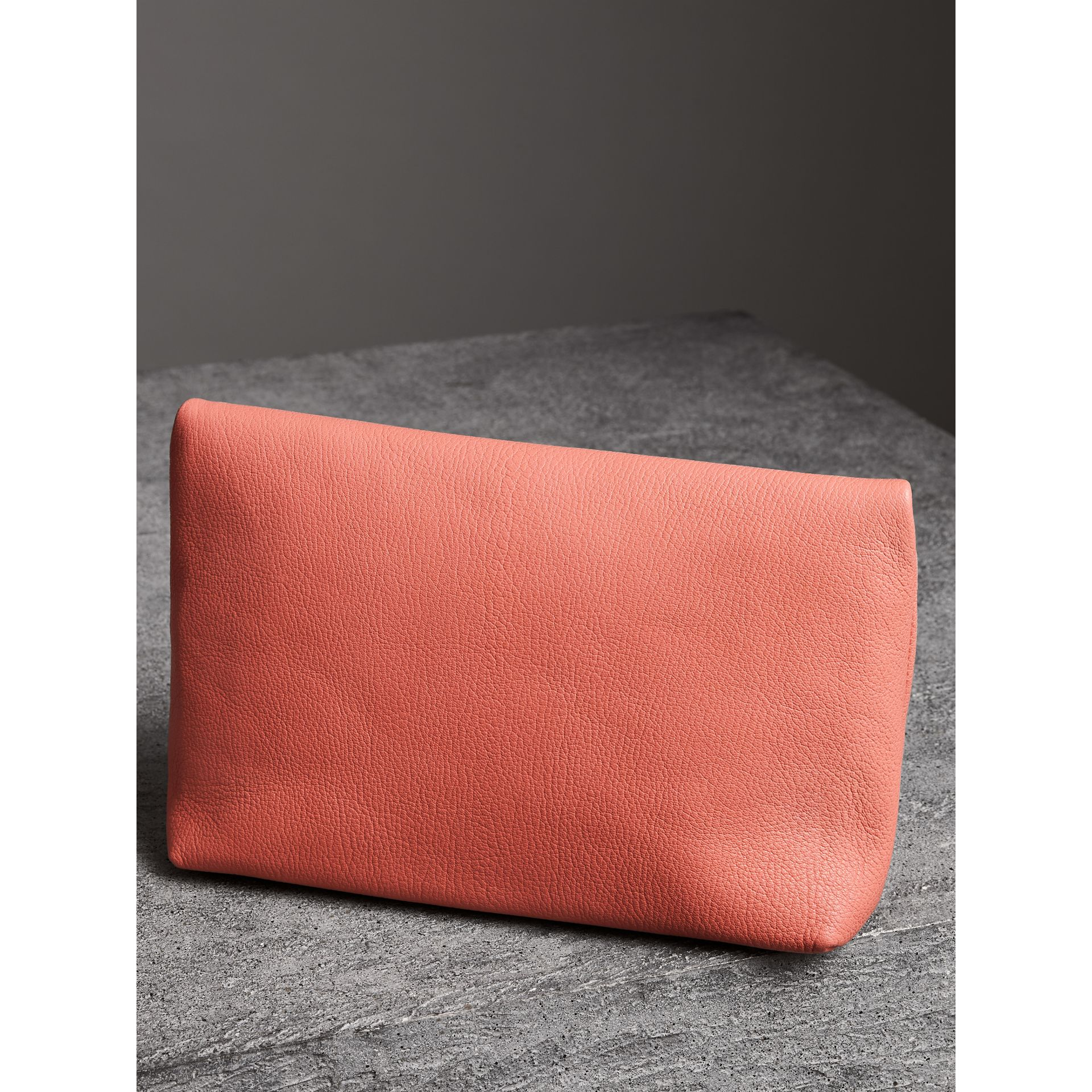 The Medium Pin Clutch in Leather in Bright Coral Pink - Women | Burberry United Kingdom - gallery image 4